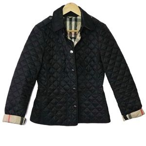 Burberry Women's Classic Black Quilted Plaid Coat